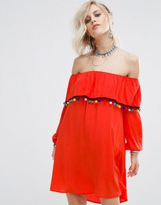 Read more about Glamorous off shoulder dress with pom pom trim - red