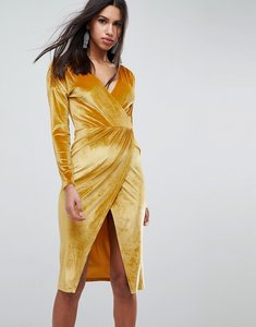 Read more about Asos gold velvet wrap midi dress - gold