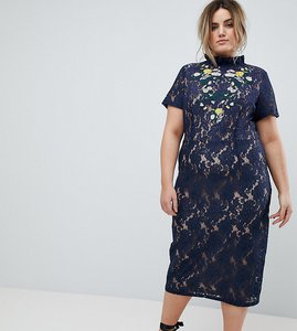 Read more about Lovedrobe midi pencil dress with embroidery - navy