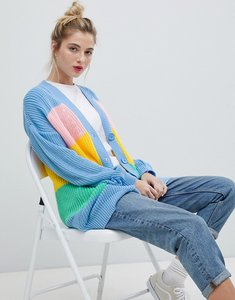 Read more about Daisy street relaxed chunky knit cardigan in stripe - multi stripe