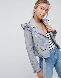 Read more about Parisian faux leather jacket with frill detail - grey