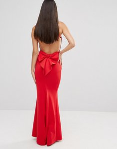 Read more about City goddess maxi dress with bow detail and exposed back - red