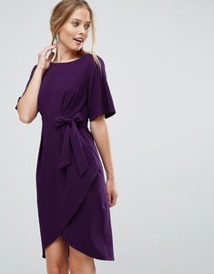 Read more about Closet london wrap front pencil dress with obi belt - purple