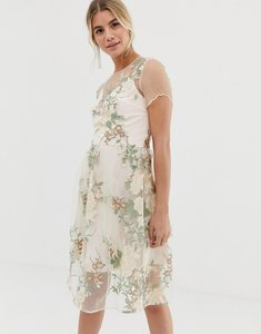 Read more about Chi chi london embroidered midi dress with sheer overlay in pink