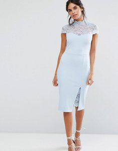 Read more about City goddess pencil dress with lace yoke - powder blue