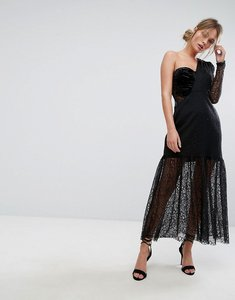 Read more about Three floor one shoulder pleated midi lace dress - black