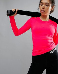 Read more about Nike pro training long sleeve top in pink - pink