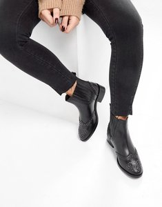 Read more about Asos alma leather studded chelsea boots - black leather