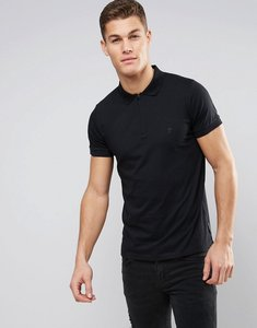 Read more about French connection polo shirt with zip and contrast cuff - black