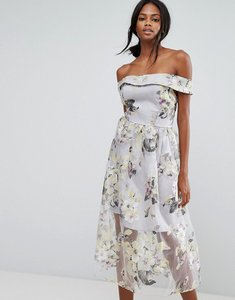 Read more about Amy lynn bardot midi prom dress in floral print - lilac