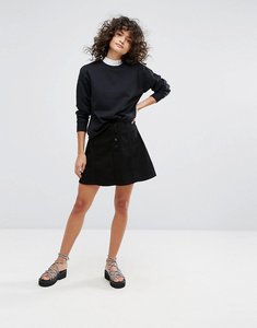 Read more about Waven a line denim skirt - true black