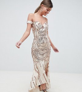 Read more about Bariano off shoulder sweetheart sequin maxi dress - rose gold