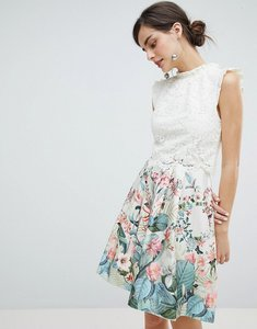 Read more about Oasis fitzwilliam lace 2 in 1 skater dress - multi natural