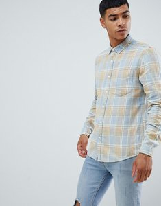 Read more about Asos design regular fit check shirt in blue snow wash - blue
