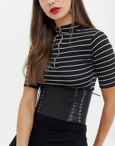 Read more about Asos elastic lace up side corset belt - black