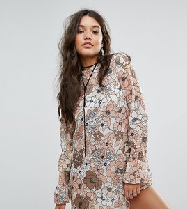 Read more about Missguided oversized floral print shift dress - neutral