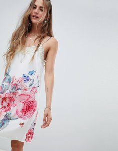 Read more about Aratta cami slip dress in floral with lace trim - white floral