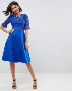 Read more about Asos premium lace insert midi dress - cobalt