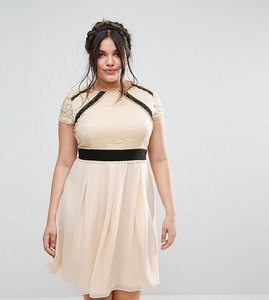 Read more about Little mistress plus 2 in 1 lace skater dress with contrast skirt - cream