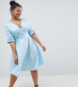 Read more about Uttam boutique plus v neck skater dress - blue