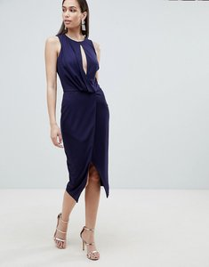 Read more about Lavish alice wrap front midi dress - navy