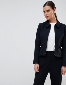 Read more about Helene berman round collar zip jacket - black
