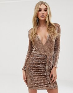 Read more about Lavish alice sequin embellished mini dress in gold