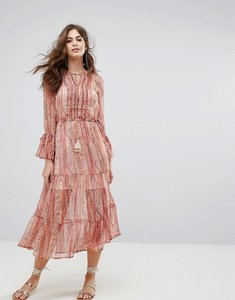 Read more about French connection malika sheer maxi dress - apricot multi