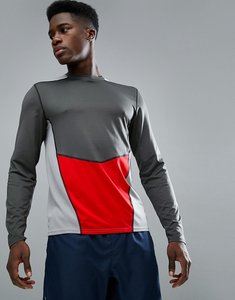 Read more about New look sport long sleeve top with panel in dark grey - dark grey
