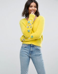 Read more about Asos jumper in fluffy yarn with embellished sleeves - yellow