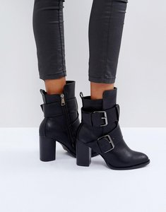 Read more about Glamorous black double buckle heeled ankle boots - black