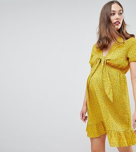 Read more about Glamorous bloom mini tea dress with tie front in ditsy spot - yellow spot