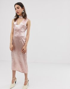Read more about J o a midi dress with plunge front and choker neck detail - dusty pink