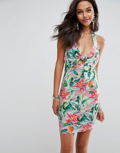 Read more about Asos knot front mini sundress in floral print - floral print