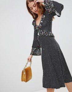 Read more about Asos midi mixed print ruffle tea dress - mixed print