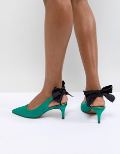 Read more about Asos design sorroco slingback bow kitten heels - emerald green