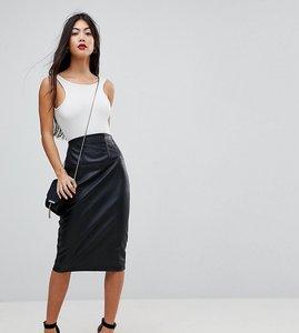 Read more about Asos petite sculpt me leather look high waist pencil skirt - black
