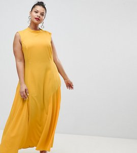 Read more about Asos design curve maxi dress with pleat detail - yellow