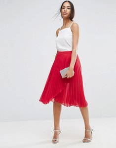 Read more about Asos pleated midi skirt with wrap front detail - red