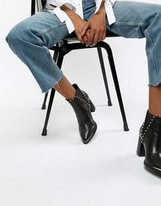 Read more about Steve madden himmer black leather studded heeled ankle boot - black leather