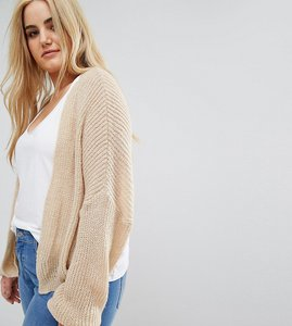 Read more about Asos curve chunky cardigan in fluffy rib - stone