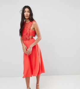 Read more about Asos tall lace pinafore pleated midi dress - coral
