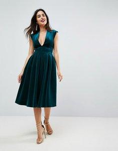 Read more about Asos deep plunge bonded velvet prom midi dress - emerald green
