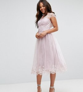 Read more about Chi chi london tall premium lace midi prom dress with lace neck - mink