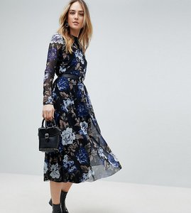 Read more about Y a s tall floral mesh midi dress - multi