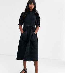 Read more about Asos design tall textured midi smock dress with tie sleeves