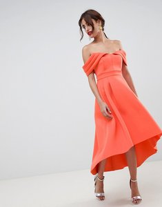 Read more about Asos design bardot cold shoulder dip back midi prom dress - coral