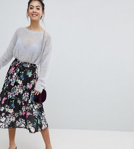 Read more about Asos petite pleated midi skirt with belt in print - multi