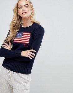 Read more about Polo ralph lauren flag logo jumper - navy multi