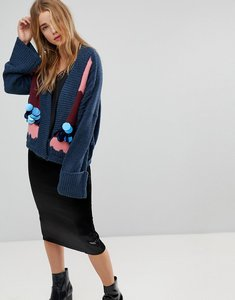 Read more about Lost ink oversized cardigan with abstract design and sequin embellishment - multi